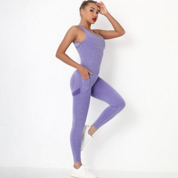 Fitness Ολόσωμη Αθλητική Φόρμα με Φαρδιές Τιράντες Purple Pale (A6205)