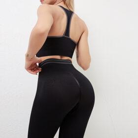 Fitness Set Αθλητικό Workout Κολάν Ψηλόμεσο & Μπουστάκι Black