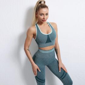 Fitness Set Αθλητικό Workout Κολάν Ψηλόμεσο & Μπουστάκι Blue