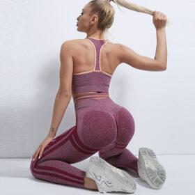 Fitness Set Αθλητικό Workout Κολάν Ψηλόμεσο & Μπουστάκι Red
