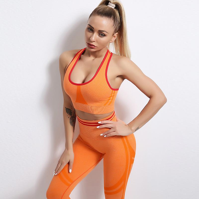 Fitness Set Αθλητικό Workout Κολάν Ψηλόμεσο & Μπουστάκι Orange