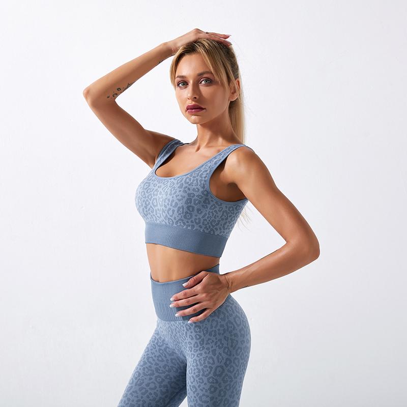 Fitness Set Αθλητικό Workout Κολάν Ψηλόμεσο & Μπουστάκι Leopard Blue