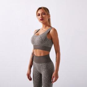 Fitness Set Αθλητικό Workout Κολάν Ψηλόμεσο & Μπουστάκι Leopard Brown