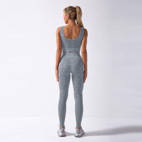Fitness Set Αθλητικό Workout Κολάν Ψηλόμεσο & Μπουστάκι Snake Grey