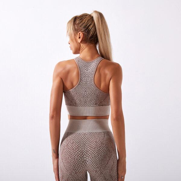 Fitness Set Αθλητικό Workout Κολάν Ψηλόμεσο & Μπουστάκι Snake Skin Μπεζ
