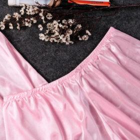 Σετ Babydoll Πυτζάμα Ψηλόμεσο Σορτσάκι & Τιραντάκι με Δαντέλα Ροζ
