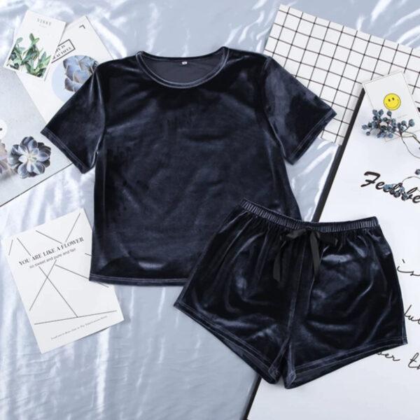 Σετ Babydoll Πυτζάμα Ψηλόμεσο Σορτσάκι & Κοντομάνικο Velvet Dark Blue