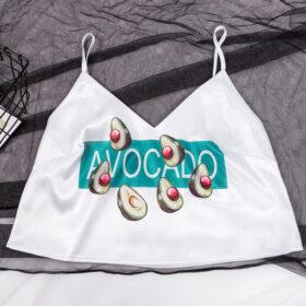 Σετ Πυτζάμα Ψηλόμεσο Σορτσάκι & Τιραντάκι Avocado Green/White