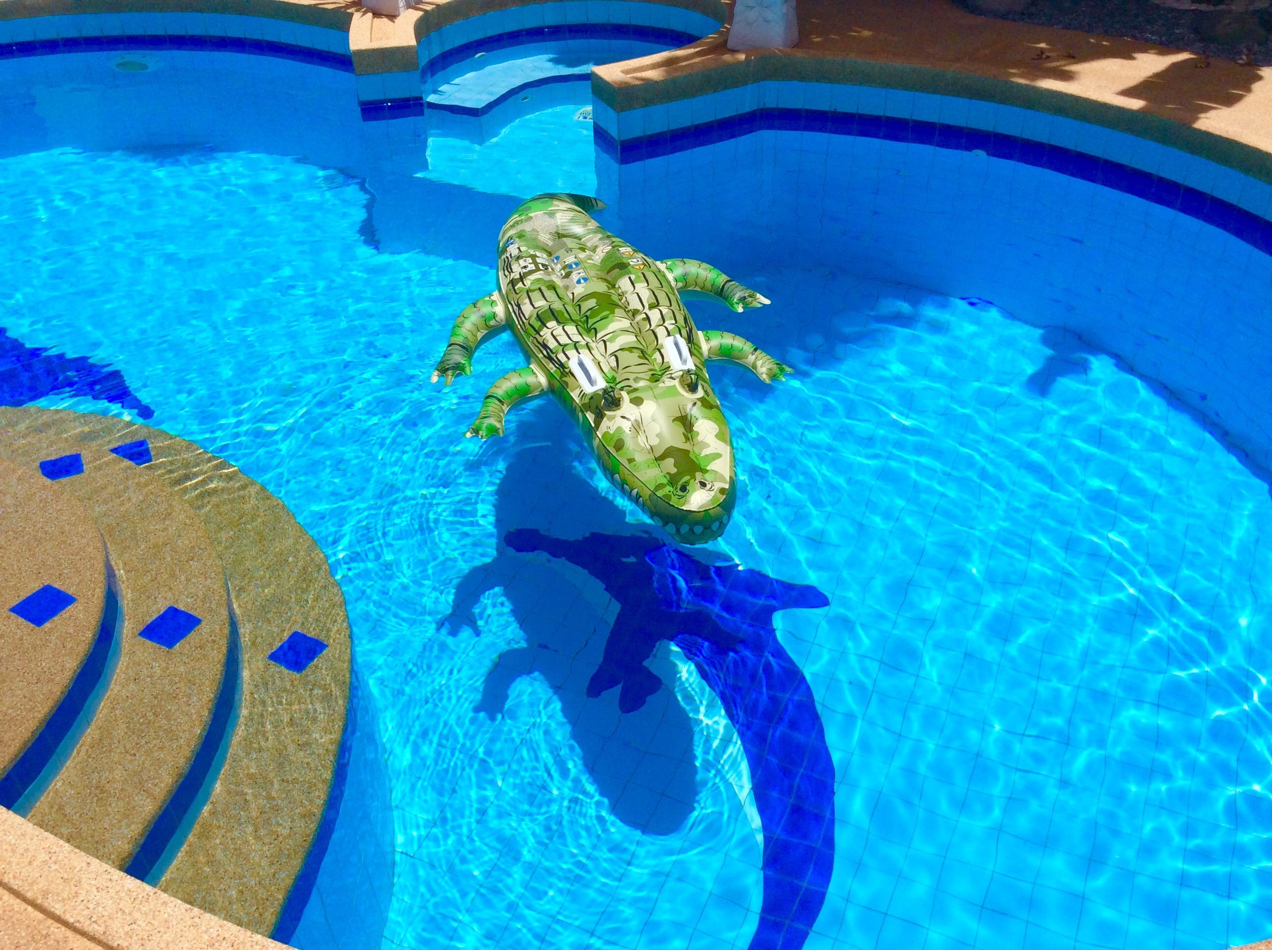 Luxuriöse Poolvilla im tropischen Garten, in einem zeitgenössischen ...