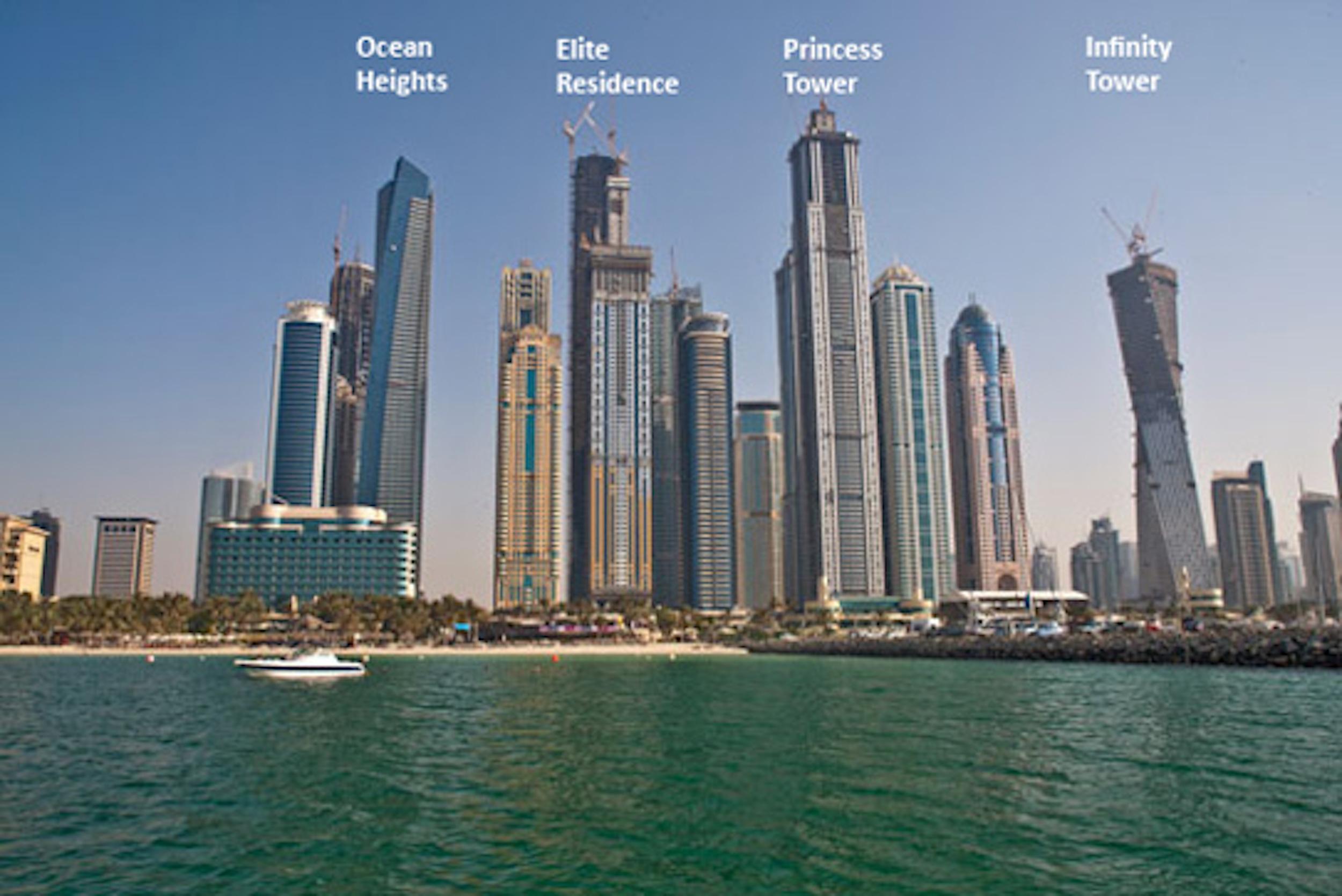 1br Dubai Marina Blick Prinzessin Tower 1609