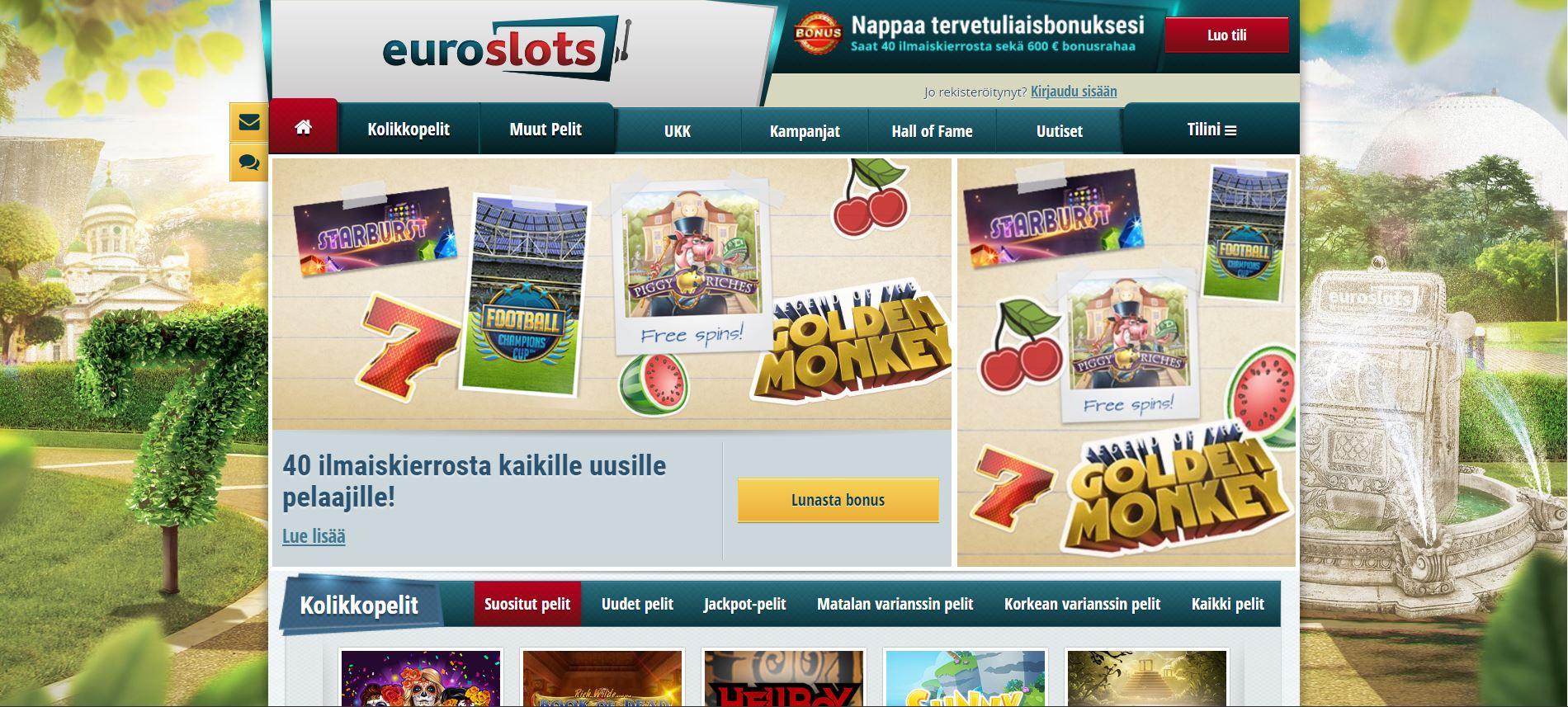 EuroSlots Kasino kuvankaappau