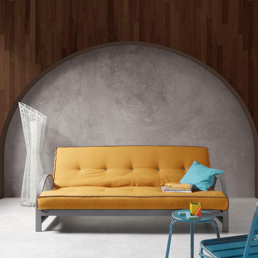 Canapé convertible jaune