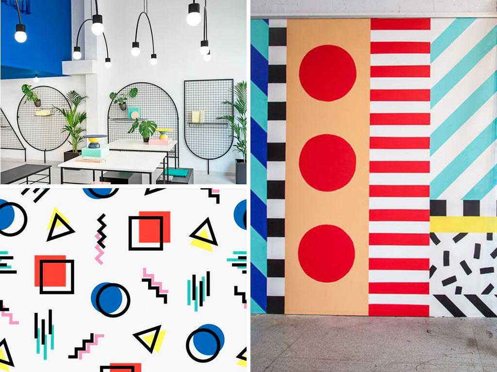 estilo-memphis-diseño-interiores-decoración-geometría-estampados