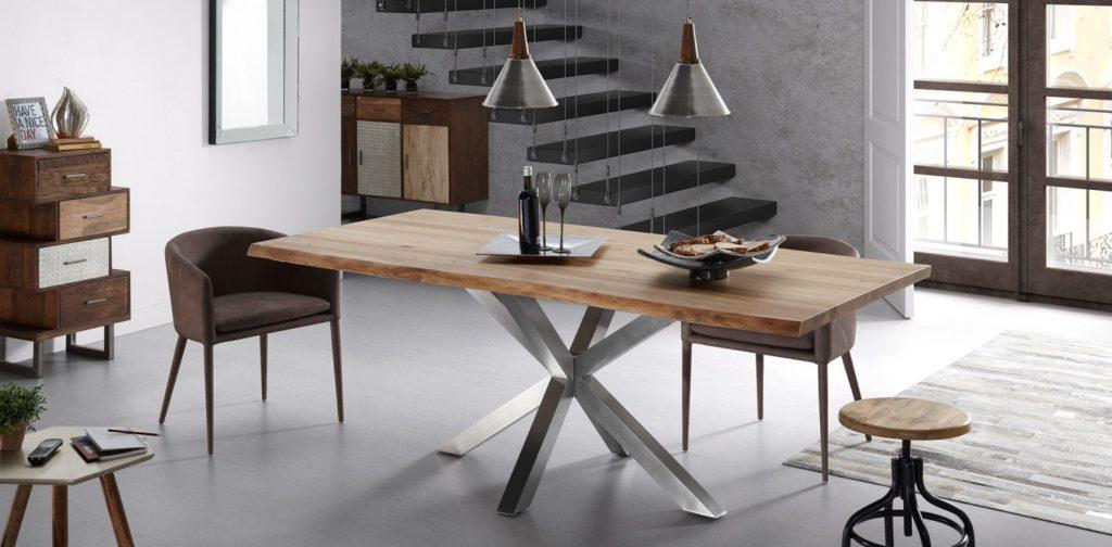 decoración muebles madera metal