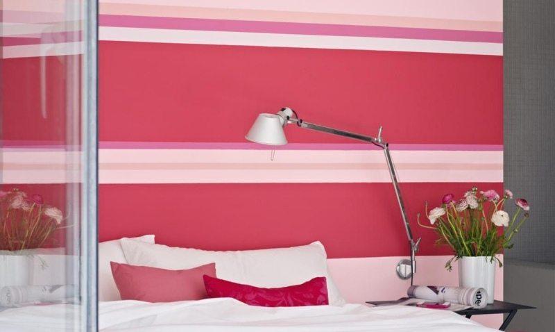 Couleur-Peinture-Chambre-Rose-Rayures-Blanc-Rose-Pâle-Literie-Blanc-Rose