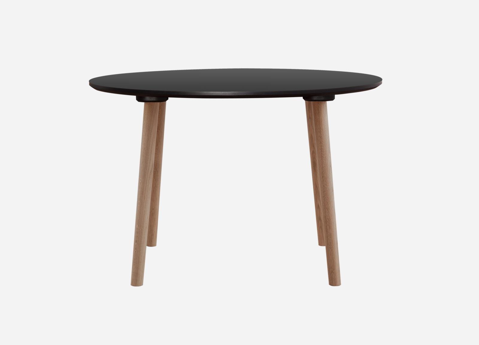 Rundt spisebord med laminat i hvid, sort eller antracit