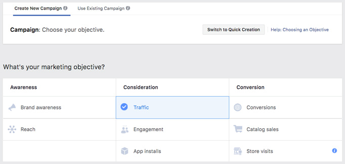 Objectives in Facebook Ads