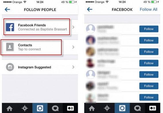 Following Contacts on Instagram using Facebook and Phone contacts