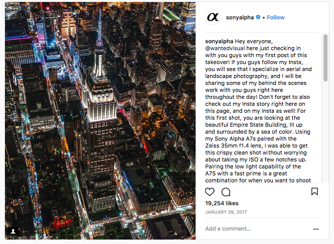 An Example of an Instagram Takeover