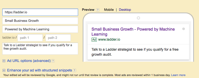 Google AdWords Text Ad Example 2