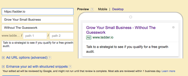Google AdWords Text Ad Example 3
