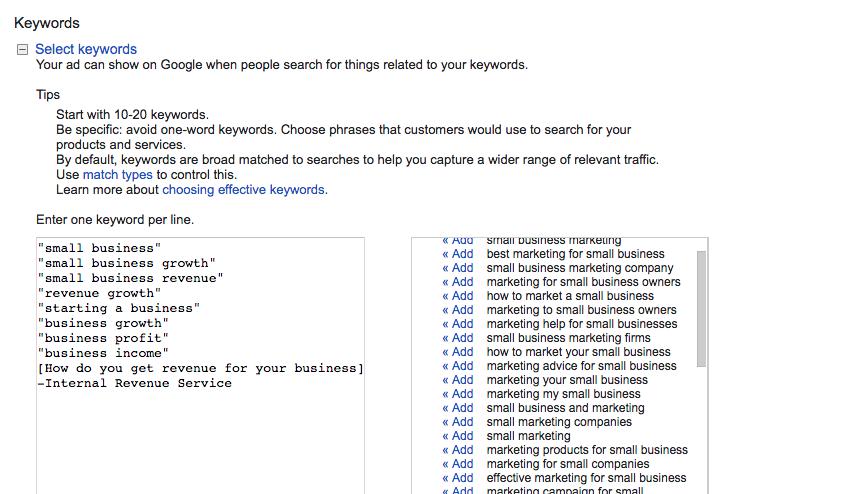 Adding Keywords in Google AdWords