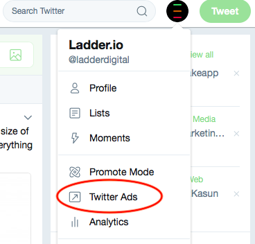 Opening Twitter Ads Manager
