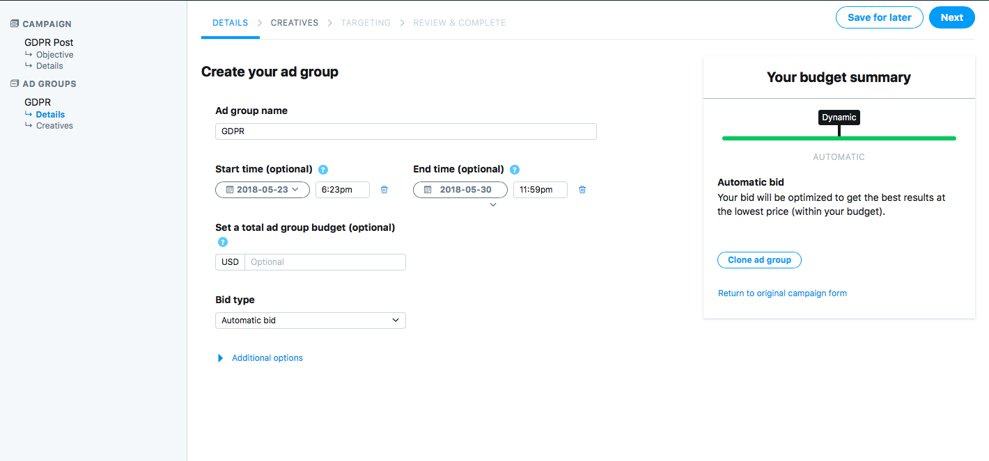 Creating a new ad group for Twitter