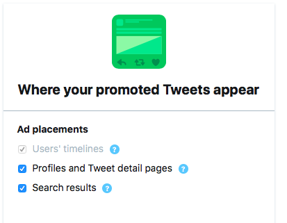 Determine where your promoted Tweets will appear