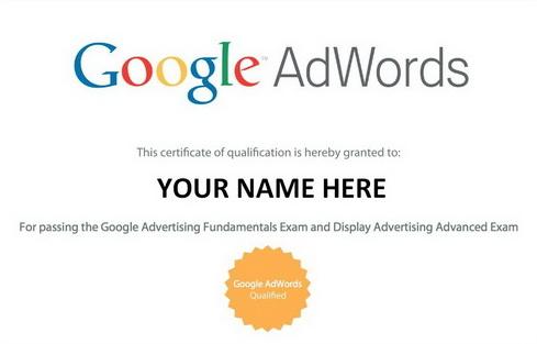 Marketing Certificate - Google AdWords Certification