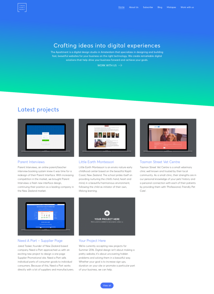 The Apartment - Web design and development