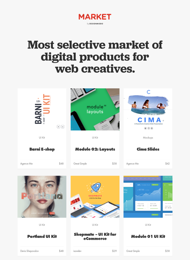 Designmodo Market - Digital Goods Marketplace for Web Creatives