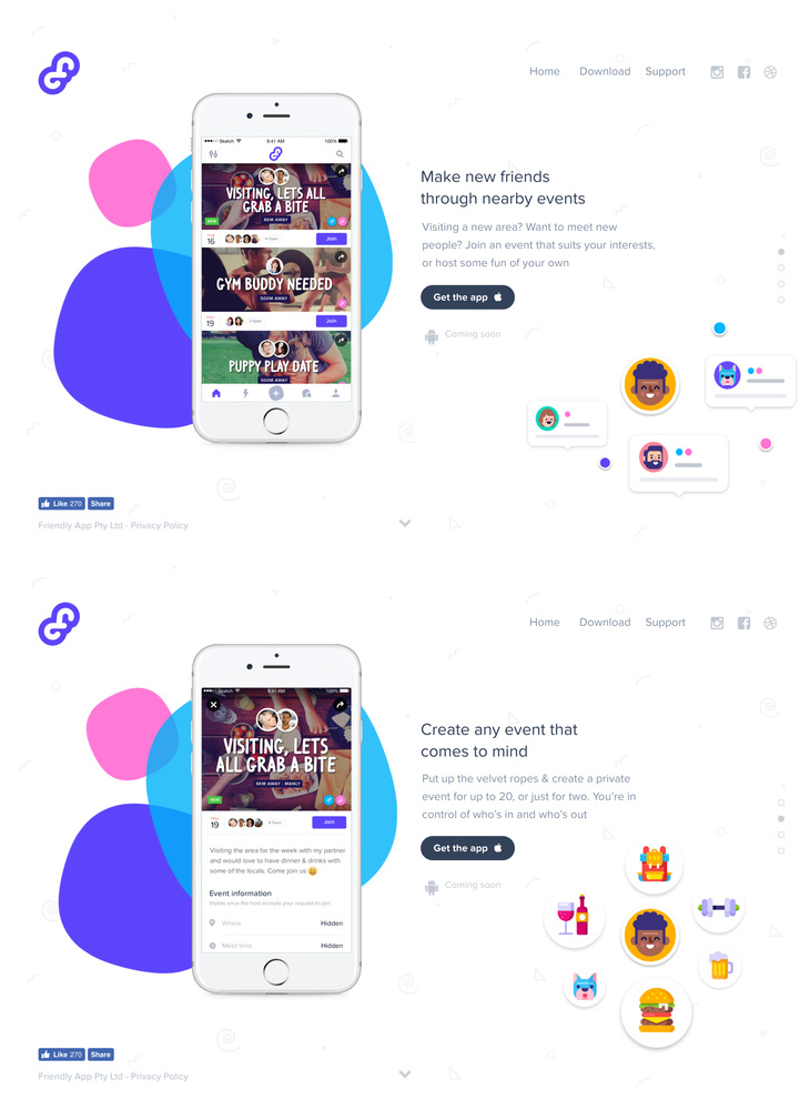 Friendly - Make new friends through nearby events