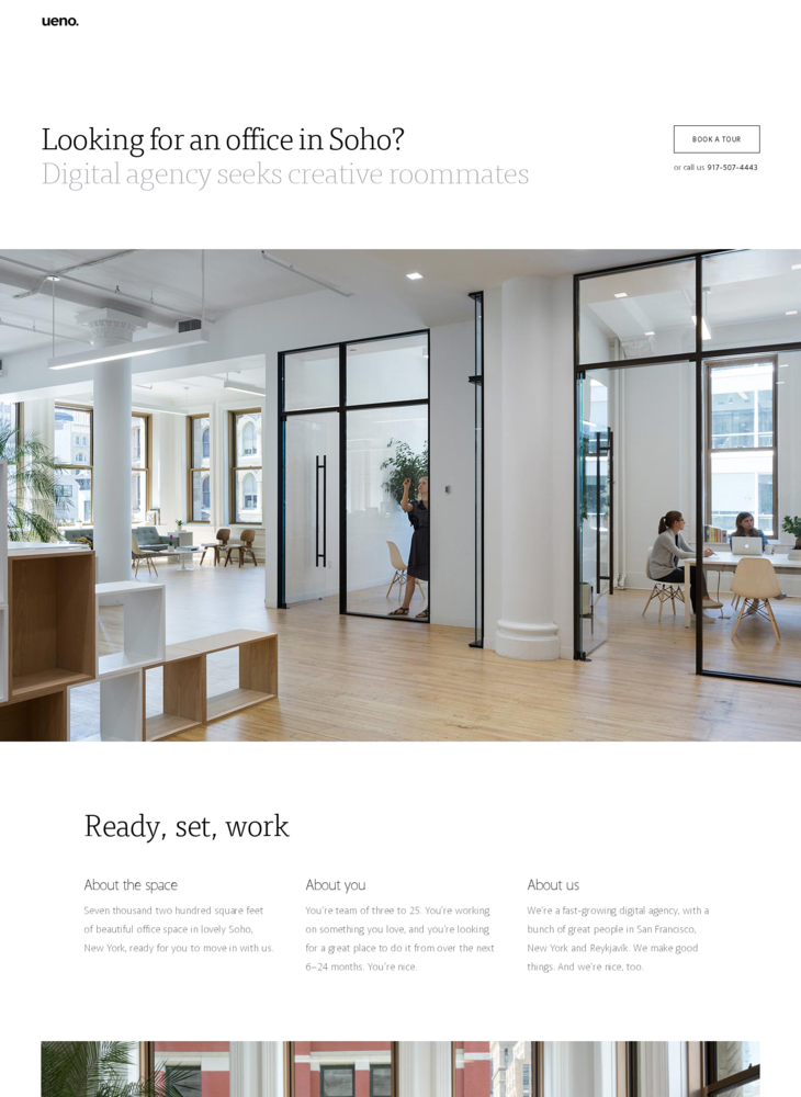 NYC Sublease - Ueno. Digital agency.