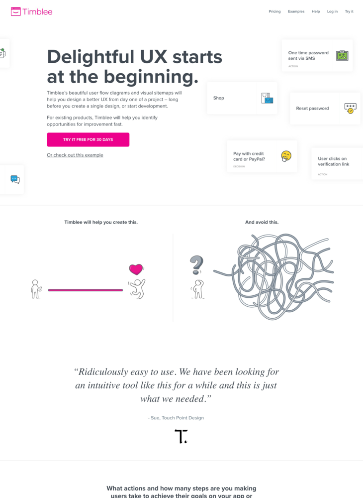 Early Stage UX Design & Planning Tool | Design user flows & visual sitemaps using Timblee