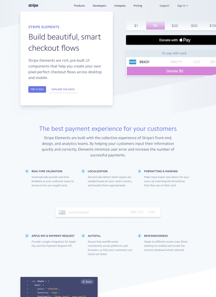 Stripe Elements: Build beautiful, smart checkout flows