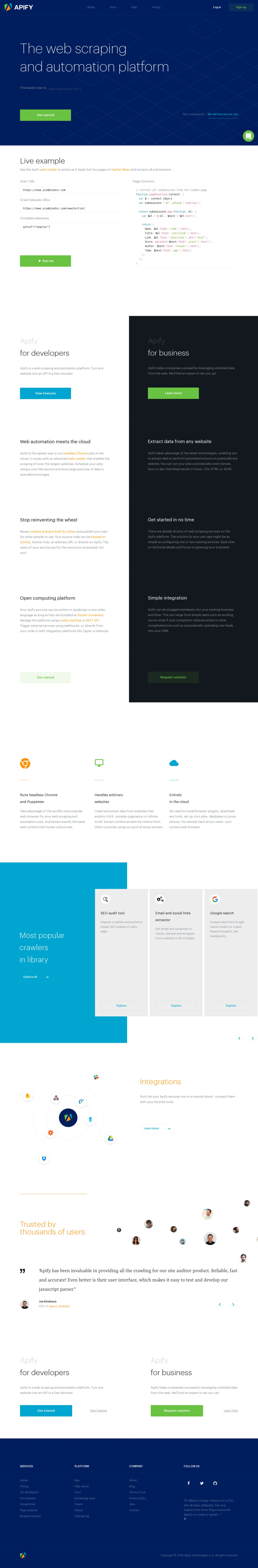 Apify - The | Land-book - the finest hand-picked website