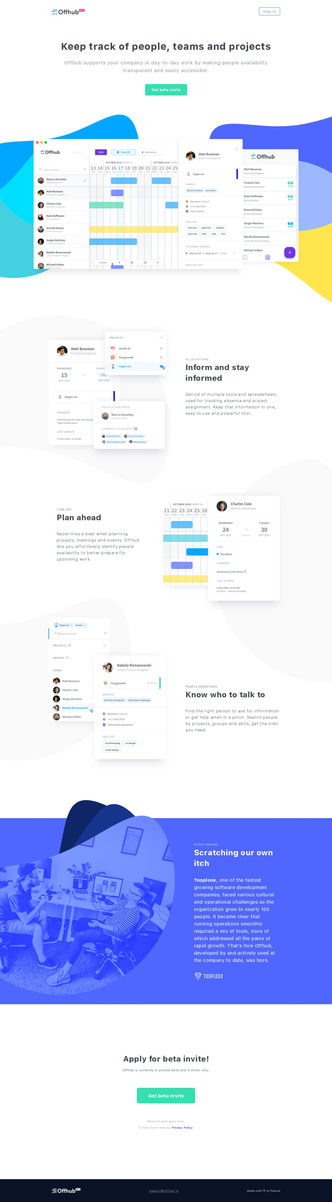 Offhub ─ Keep track of people, teams and projects