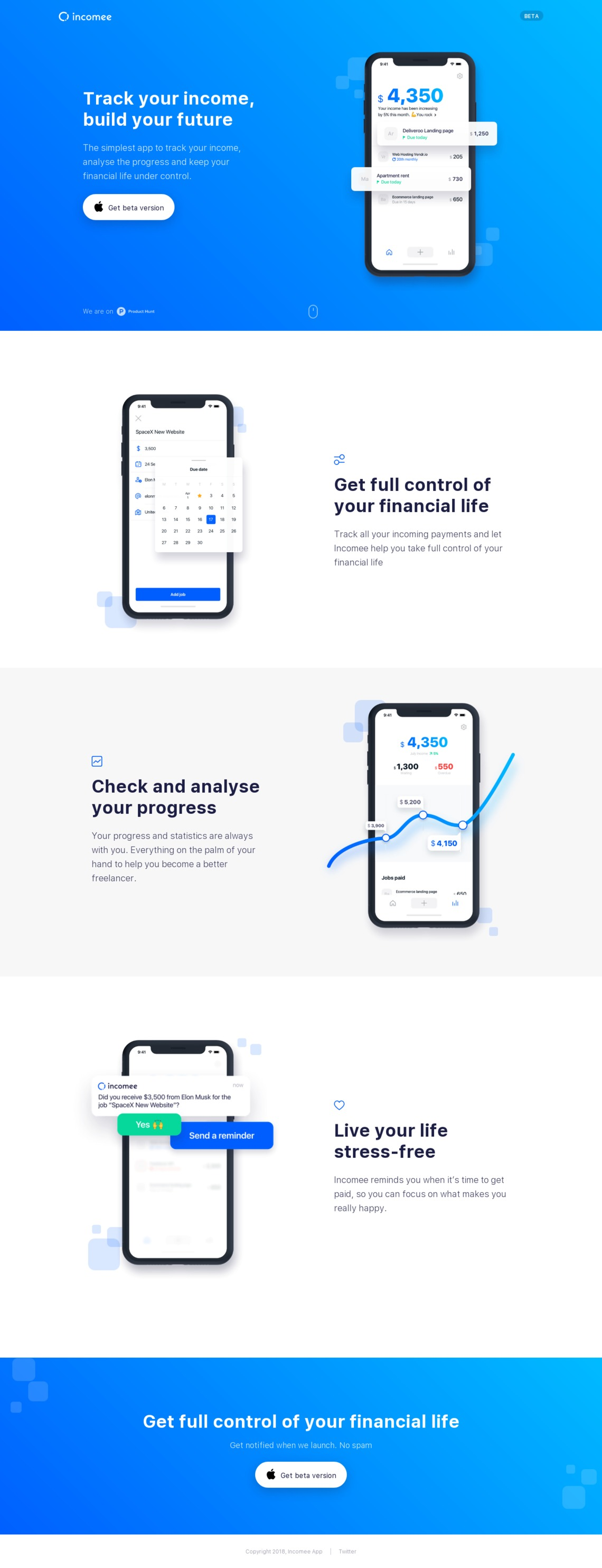 Incomee App - the income tracker for freelancers