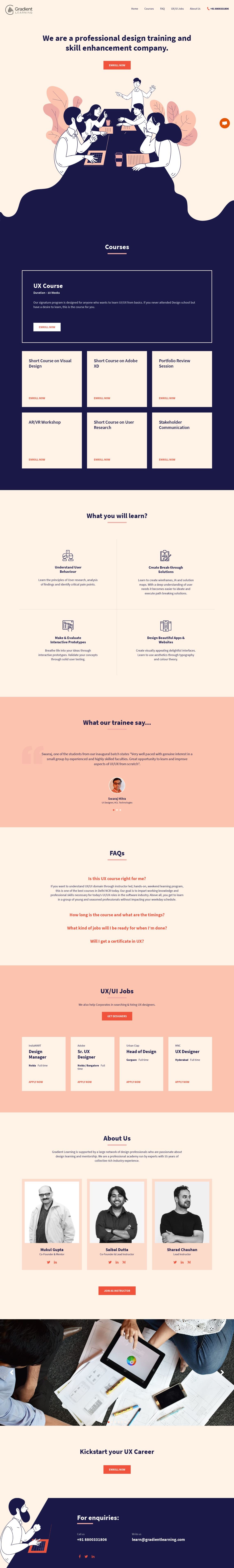 Gradient Learning-UI/UX design training and skill enhancement academy