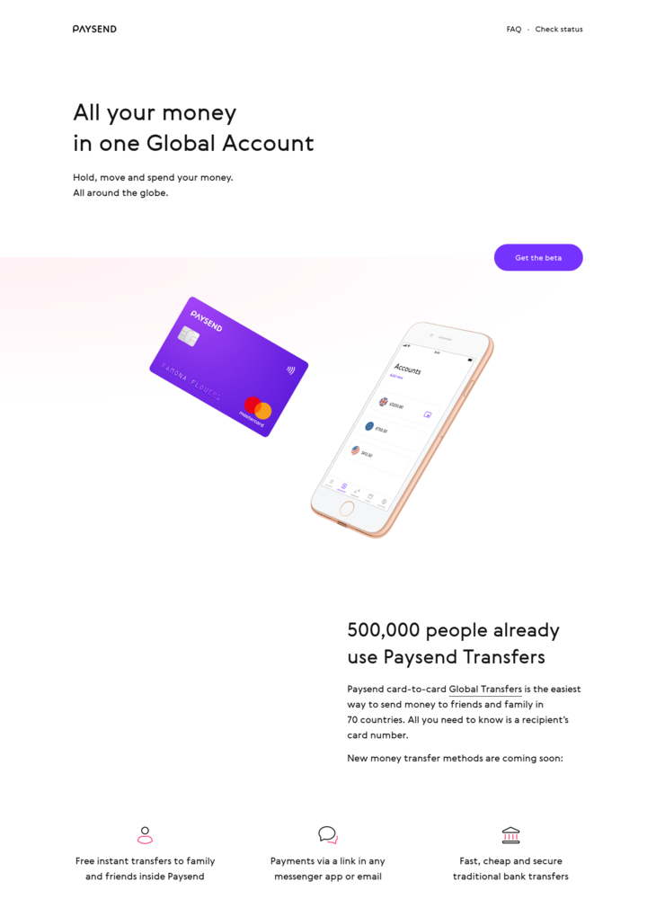 Paysend · All your money in one Global Account