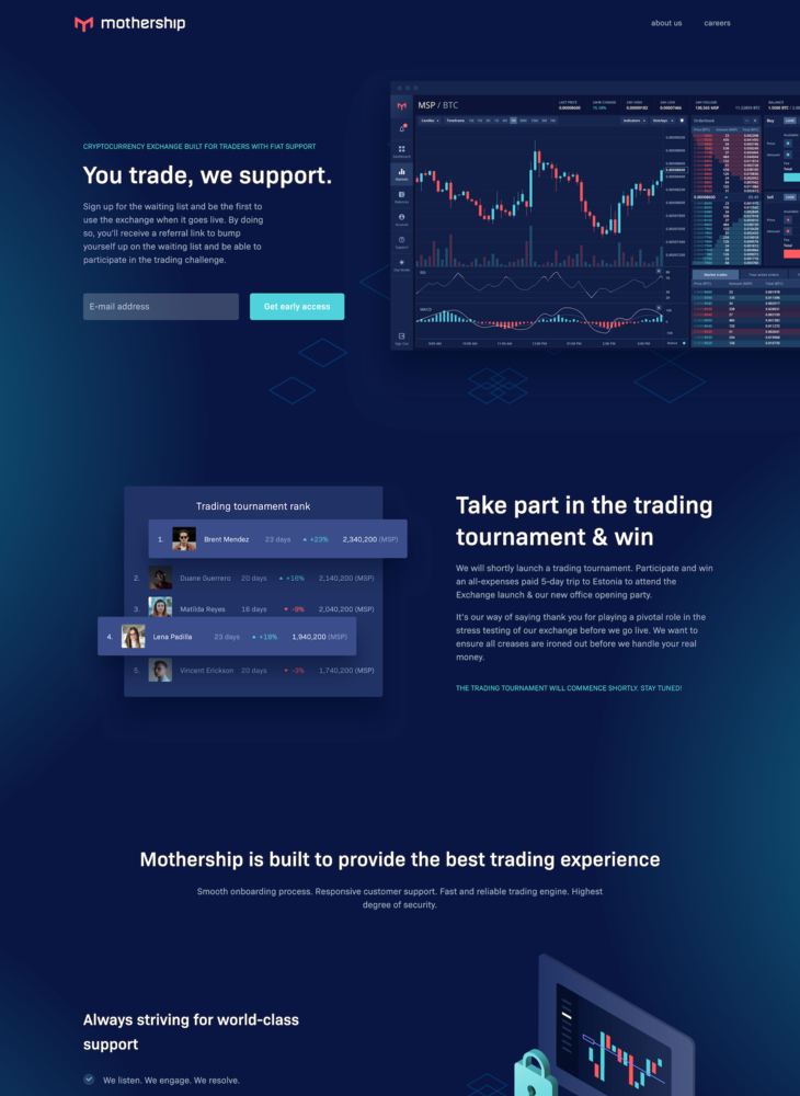 Mothership - You trade, we support | Cryptocurrency exchange