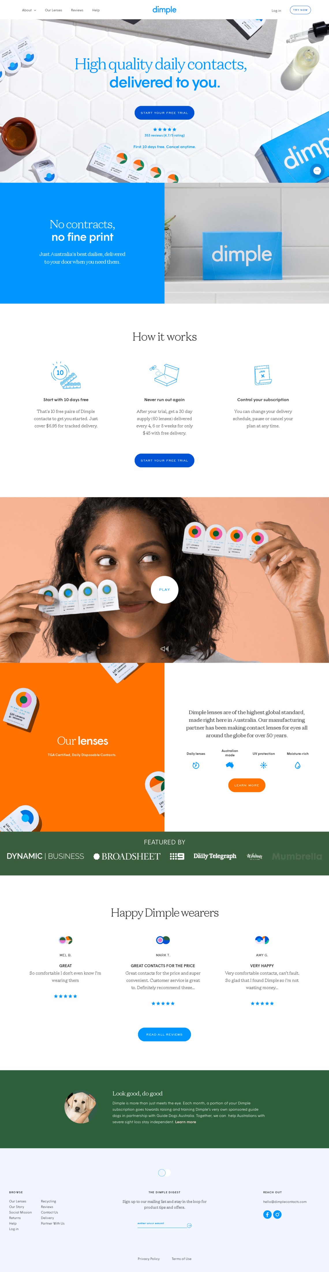 Dimple™ | Affordable Daily Contact Lenses on Subscription