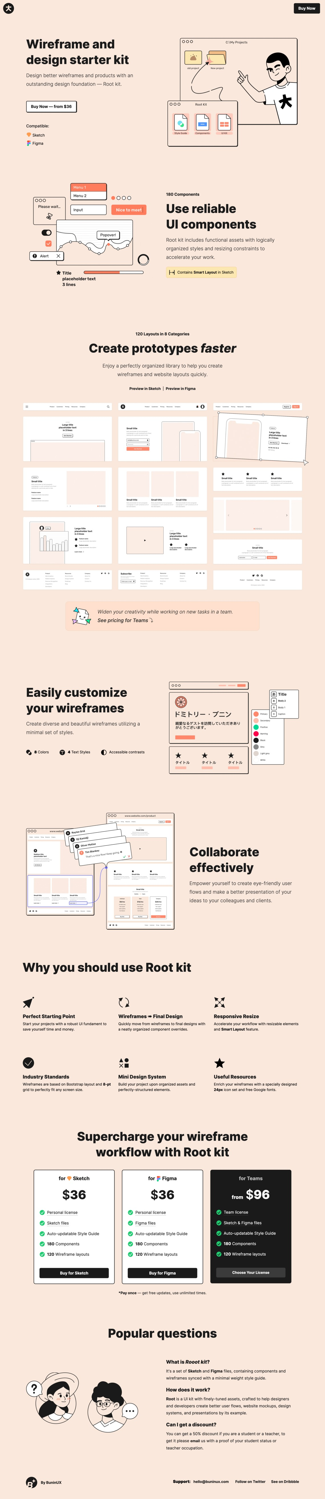 Root - Website Wireframe and Design Starter Kit