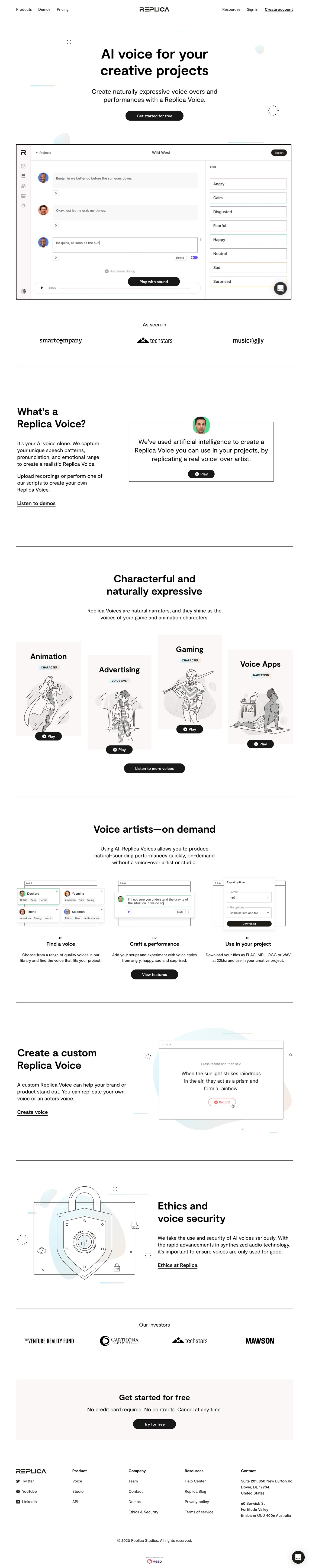 Synthesize Voice AI and Natural Sounding Text-to-Speech — Replica
