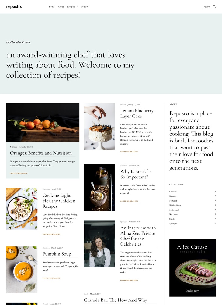 Repasto - Food blog WordPress theme - ThemesKingdom