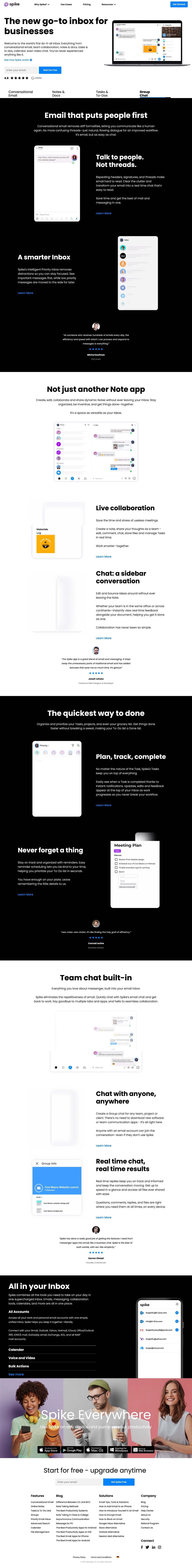 Spike - Email with Team Chat, Notes, To Do Lists, Calendar