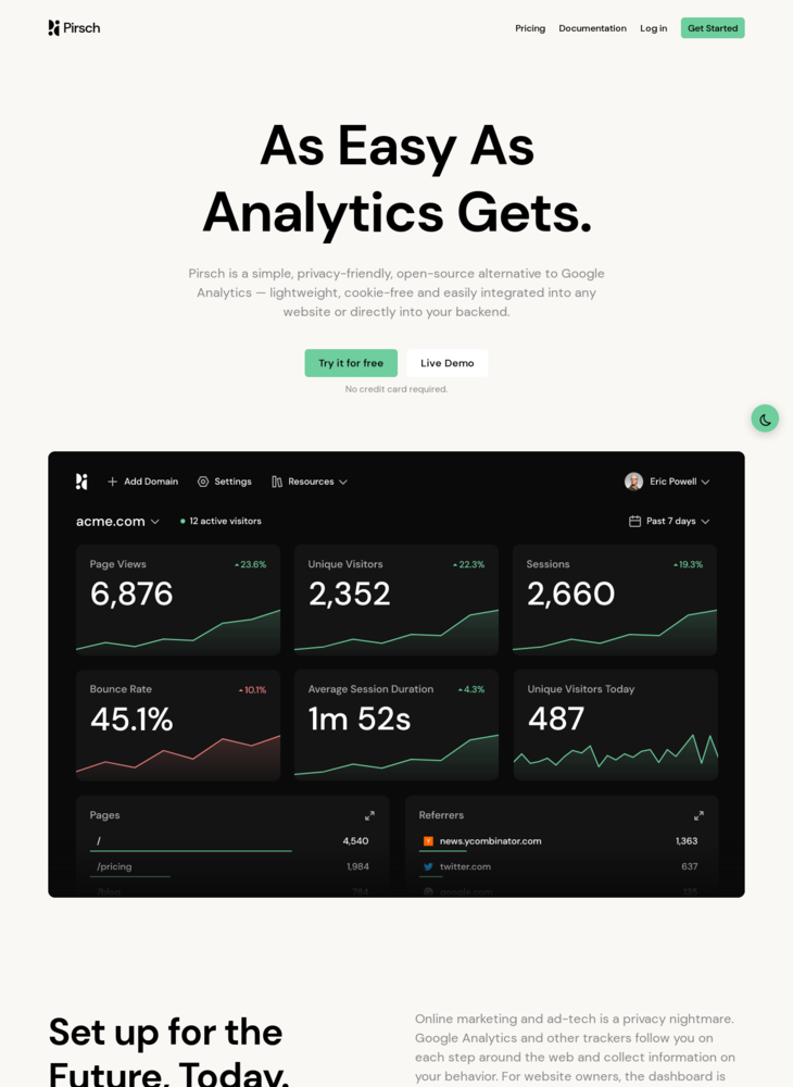 Pirsch Analytics ‒ Cookie-Free, Privacy-Friendly Alternative to Google Analytics