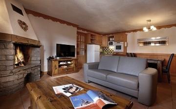 Ferienwohnungen in Val Thorens - Plein Sud Wohnzimmer u Kochnische