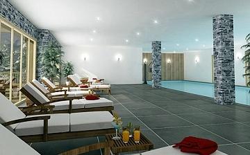Pool der Residenz Front de Neige ∙ Ferienwohnungen in La Plagne Village (2050 m) ∙ Skigebiet Paradiski - La Plagne ∙ Frankreich